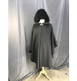 3873 - Charcoal Grey Ruana Cloak, Black Moleskin Hood Lining, Pewter Triple Medallion Clasp