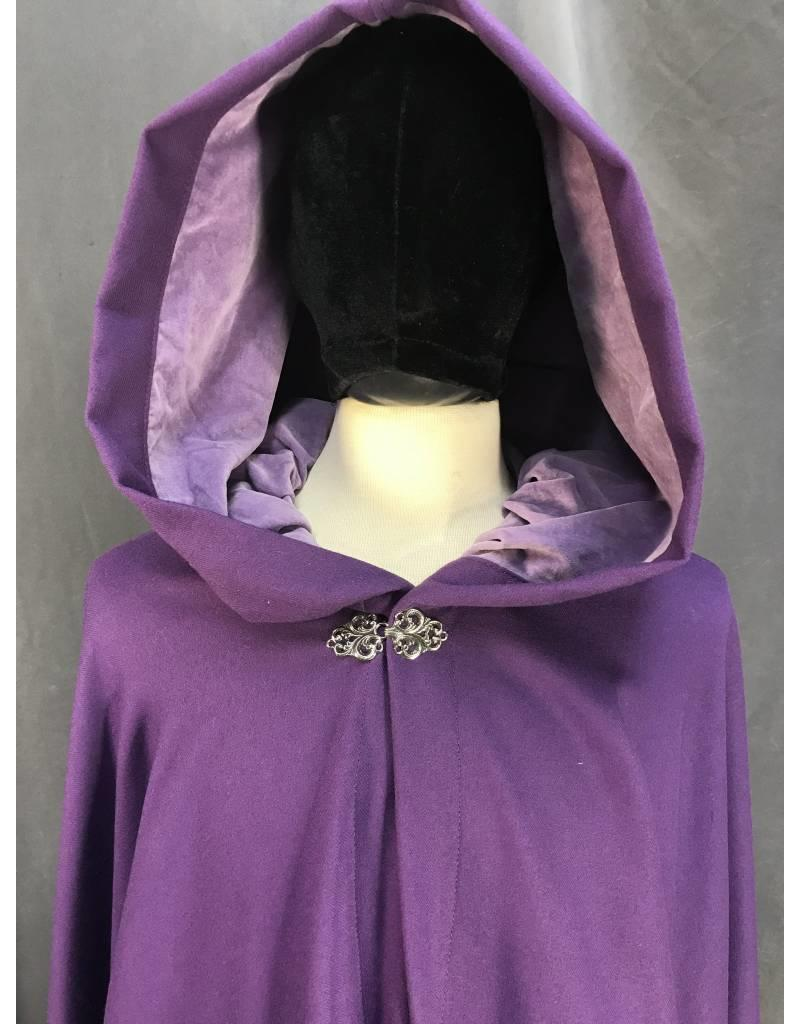 Cloak and Dagger Creations 3874 - Purple 100% Wool Full Circle Cloak, Light Purple Velveteen Hood Lining, Pewter Vale Clasp