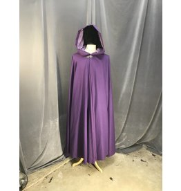 3874 - Purple 100% Wool Full Circle Cloak, Light Purple Velveteen Hood Lining, Pewter Vale Clasp
