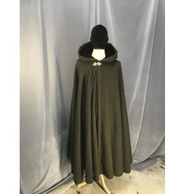3875 - Heathered Green Full Circle Cloak, Burgundy Hood Lining, Pewter Triple Medallion Clasp
