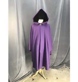 Cloak and Dagger Creations 3876 - Purple Wool Ruana cloak with Pockets, Black Velvet Hood Lining, Pewter Vale Clasp