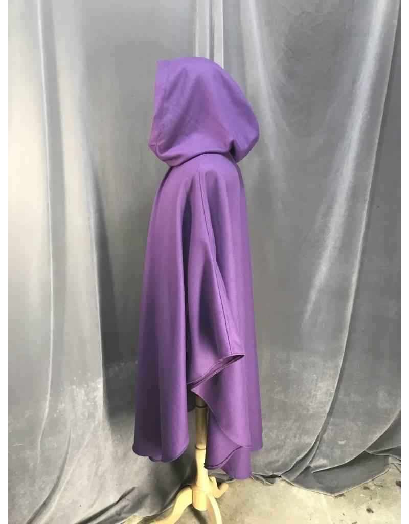 3876 - Purple Wool Ruana cloak with Pockets, Black Velvet Hood Lining, Pewter Vale Clasp