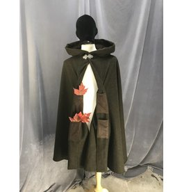 3878 - Heathered Green 3/4 Cloak, Brown Moleskin Hood Lining, 4 pockets, Pewter Triple Medallion Clasp