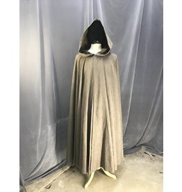 3880 - Washable Mushroom Grey Full Circle Cloak, Pewter Vale Clasp