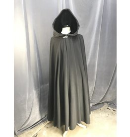 3881 - Medium Grey Full Circle cloak, Black Stretch Velvet Hood Lining, Pewter Vale Clasp