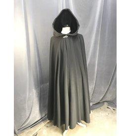 3881 - Medium Grey Full Circle cloak, Black Stretch Velvet Hood Lining, Pewter Vale Clasp