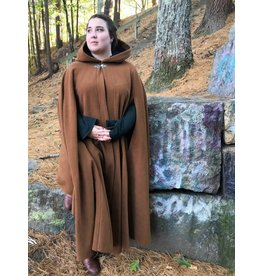 3869 - Caramel Brown 100% Wool Cloak,  Blue Velveteen Hood Lining, Arm Slits, Shaped Shoulder Style, Pewter Clasp