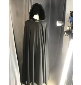 3886 - Black Wool Blend Full Circle Cloak, Black Stretch Velvet Hood Lining, Pewter Vale Clasp