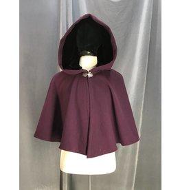 3884 - Purple Wool Blend Shaped Shoulder Short Cloak, Black Stretch Velvet Hood Lining, Pewter Vale Clasp