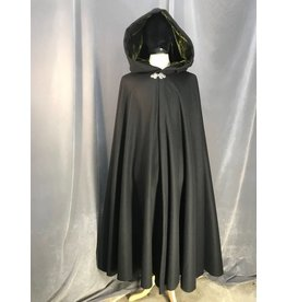 3890 - Black Wool Blend Full Circle Cloak, Olive Green Silk Velvet Hood Lining, Triple Medallion Clasp