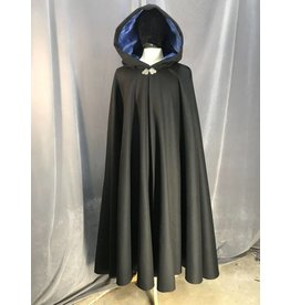 3892 - Black Wool Blend Full Circle Cloak, Royal Blue Velvet Hood Lining, Triple Medallion Clasp