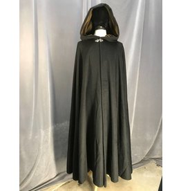 3899 - Black Wool Blend Shaped Shoulder Cloak, Brown Moleskin Hood Lining, Pewter Vale Clasp
