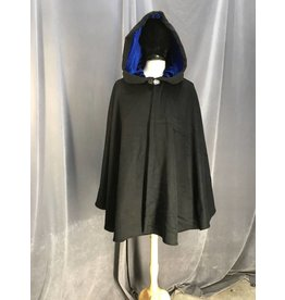 Cloak and Dagger Creations 3990 - Black Wool Blend Shaped Shoulder Ruana, Blue Stretch Velvet Hood Lining, Pewter Vale Clasp