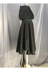 Cloak and Dagger Creations 3990 - Black Wool Blend Shaped Shoulder Ruana, Blue Stretch Velvet Hood Lining, Pewter Vale Clasp