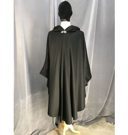 3901 - Black Cashmere Wool Shaped Shoulder Ruana Cloak, Golden Silk Velvet Hood Lining, Pewter Vale Clasp