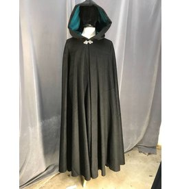 3902 - Black Wool Blend Full Circle Cloak, Teal Cotton Moleskin Hood Lining, Pewter Triple Medallion Clasp