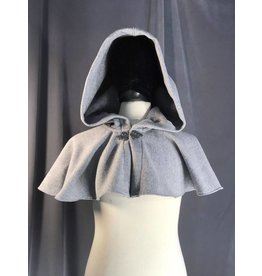 3904 - Grey Wool Blend Short Cloak/Cape, Self Lined Hood, Pewter Triple Medallion Clasp