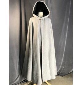 3906 - Grey Wool Blend Full Circle Cloak, Grey Faux Suede Hood Lining, Pewter Triple Medallion Clasp