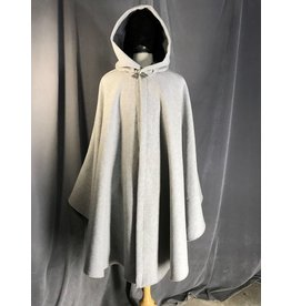 3908 - Grey Wool Blend Ruana Cloak, Dark Grey Faux Suede Hood Lining, Pewter Triple Medallion Clasp