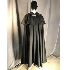 3912 - Black Cloak w/mantle, Black Velvet Hood Lining, Pewter Celtic Dragon Clasp