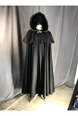 Cloak and Dagger Creations 3912 - Black Cloak w/mantle, Black Velvet Hood Lining, Pewter Celtic Dragon Clasp