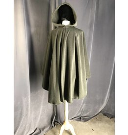 3907 - Moss Green Fleece Ruana Cloak, Self-lined Hood, Pewter Vale Clasp
