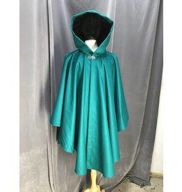 3922 - Jade Green Wool Ruana Cloak, Black Stretch Velvet Hood Lining