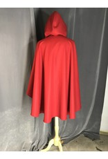 Cloak and Dagger Creations 3926 - Red Wool Ruana Cloak, Black Velveteen Hood Lining, Pewter Vale Clasp