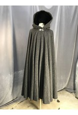 3797 - Dark Grey Basketweave Cloak, Black Stretch Velvet Hood Lining, Pewter Triple Medallion Clasp