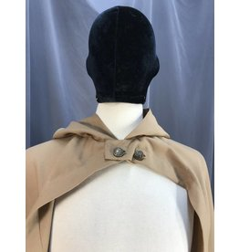 3915 - Fawn brown Hobbit Cloak, Unlined Hood