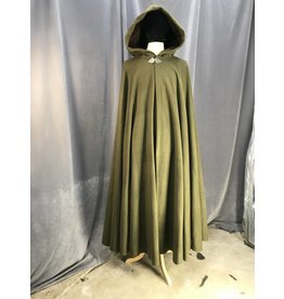 3921 - Olive Green Wool Cloak, Brown Hood Lining, Pewter Triple Medallion Clasp