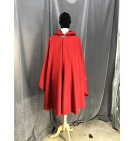 3923 - Red Wool Shaped Shoulder Ruana Cloak, Red Hood Lining, Pewter Vale Clasp