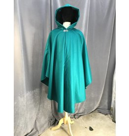 3925 - Jade Green Wool Ruana Cloak, Deep Jade Stretch Velvet Hood Lining, Pewter Vale Clasp