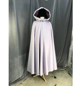 3927 - Lavender Wool Full Circle Cloak, Orchid Cotton Velvet Hood Lining, Pewter Triple Medallion Clasp