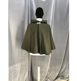 3929 - Dark Moss Green Full Circle Short Cloak, Black Cotton Velvet Hood Lining, Pewter Triple Medallion Clasp