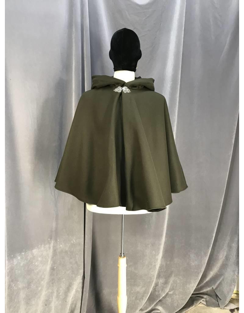 15d458174f 3929 - Dark Moss Green Full Circle Short Cloak