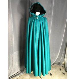3933 - EXTRA Long Persian Green Wool Cloak, Black Velveteen Hood Lining, Pewter Triple Medallion Clasp