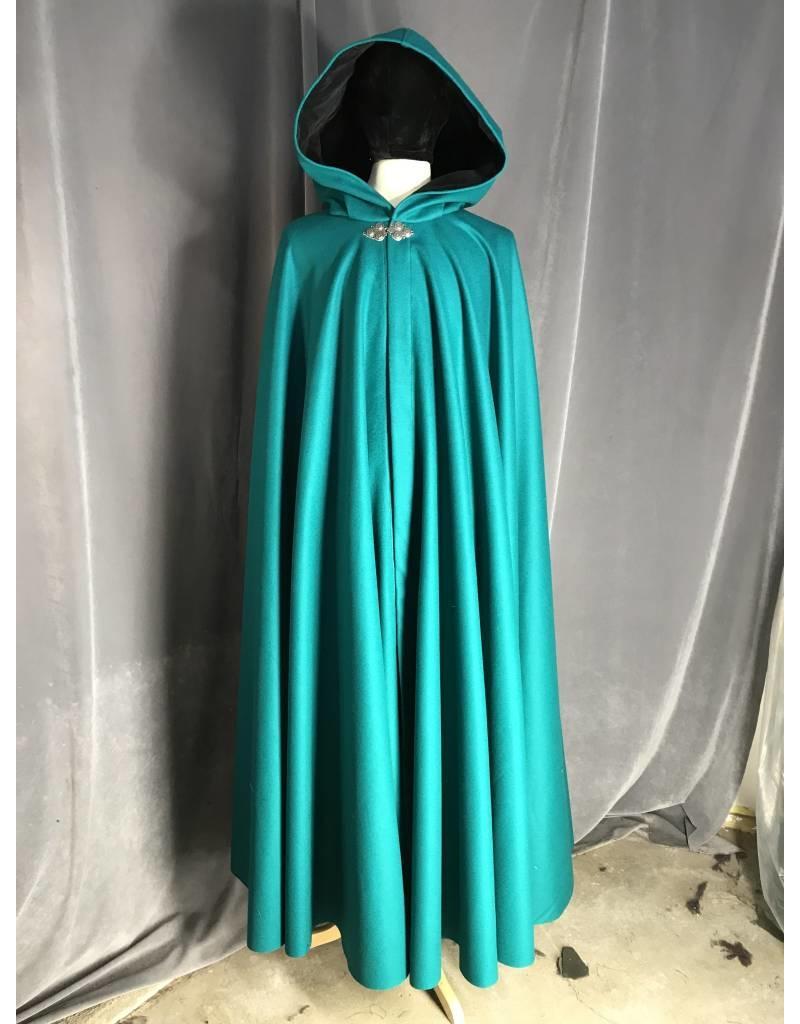 Cloak and Dagger Creations 3933 - Caribbean Green Wool Cloak, Black Velveteen Hood Lining, Pewter Triple Medallion Clasp