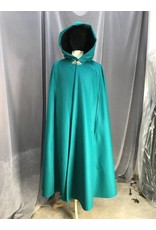Cloak and Dagger Creations 3935 - Caribbean Green Cloak w/Arm Slits, Black Hood Lining, Pewter Triple Medallion Clasp