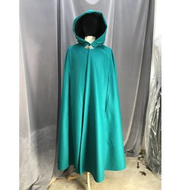 3935 - Persian Green Cloak w/Arm Slits, Black Hood Lining, Pewter Triple Medallion Clasp