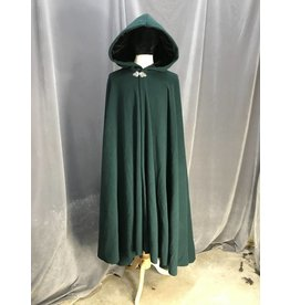 3937 - Hunter Green Wool Cloak, Black Poly Stretch Velvet Hood Lining, Triple Medallion Clasp