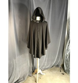 3940 - Chocolate Brown Youth Shaped Shoulder Ruana Cloak, Pewter Clasp