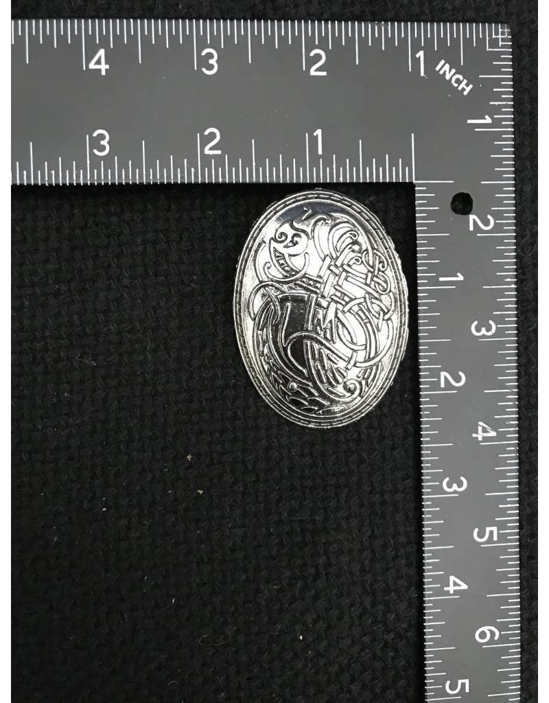 Bird Design Viking Turtle Brooch- Silvertone Plated - Medium