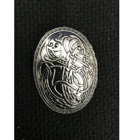 Bird Design Viking Turtle Brooch- Silvertone Plated - Medium