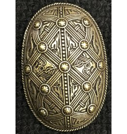 Banded Shield Style Viking Turtle Brooch - Antique Bronze Plated - Medium