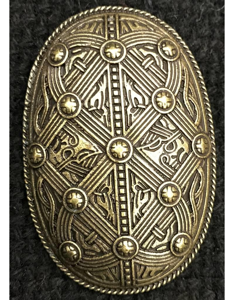 Cloak and Dagger Creations Banded Shield Style Viking Turtle Brooch - Antique Bronze Plated - Medium