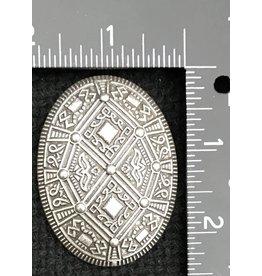Diamond Shield Viking Turtle Brooch - Silvertone - Medium