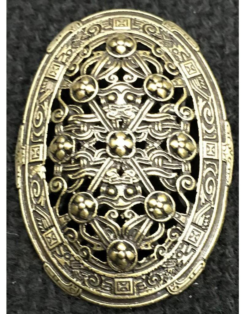 Cloak and Dagger Creations Framed Pierced Filigree Turtle Brooch, Antique Bronze Plated, Medium