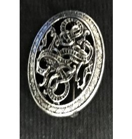 Pierced Dragon Viking Turtle Brooch- Antiqued Metal - Tiny