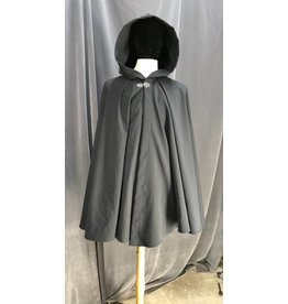 3944 - Dark Steel Grey  Cotton Full Circle Cloak, Silver Triple Vale Clasp